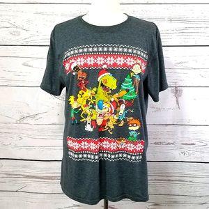 Nickelodeon Classic Characters Holiday Tee Shirt L